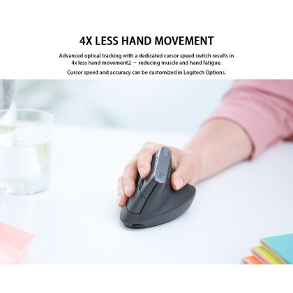 Mx Vertical Advanced Ergo Mouse Bluetooth Unifying Type-c Rechargeable 57° Vertical Angle Speed Movement