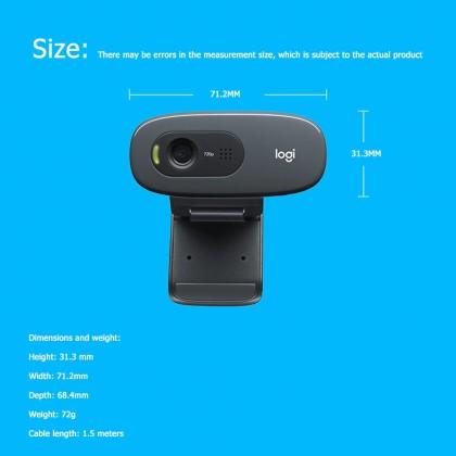 LOGITECH C270 HD Video 720P Webcam Built-in Micphone USB2.0 Mini Computer Camera for PC Laptop Video Conference Camera Original