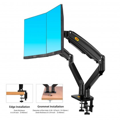 NB F195A 22 to 32 Inch Gas Strut Dual Monitor Desk Stand Bracket Holder Mount Stand Monitor Stand Holder 360 Rotate Support Load 3-12kgs Each with USB 3.0 2 Port Ready