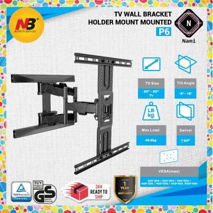 [New Design]North Bayou NB P6 (SIMILIAR 767-L600,757-L400) 45 to 75 Inch TV Wall Bracket Mount Double Extendable Arm